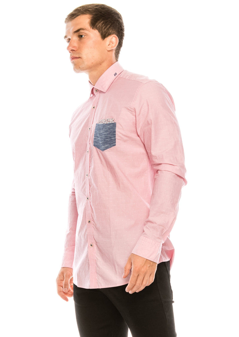 Slim Fit Contrast Pocket Shirt - Pink