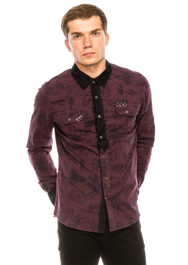 Pierced Fitted Button Down Shirt - Wine 1 - Ron Tomson