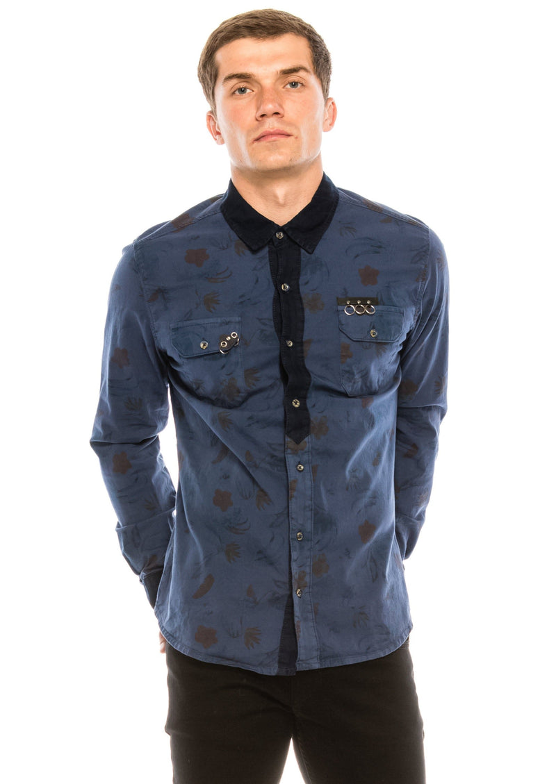 Pierced Fitted Button Down Shirt - NAVY 1 - Ron Tomson ?id=15571878510677