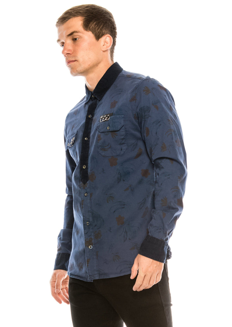 Pierced Fitted Button Down Shirt - NAVY 1 - Ron Tomson ?id=15571878314069