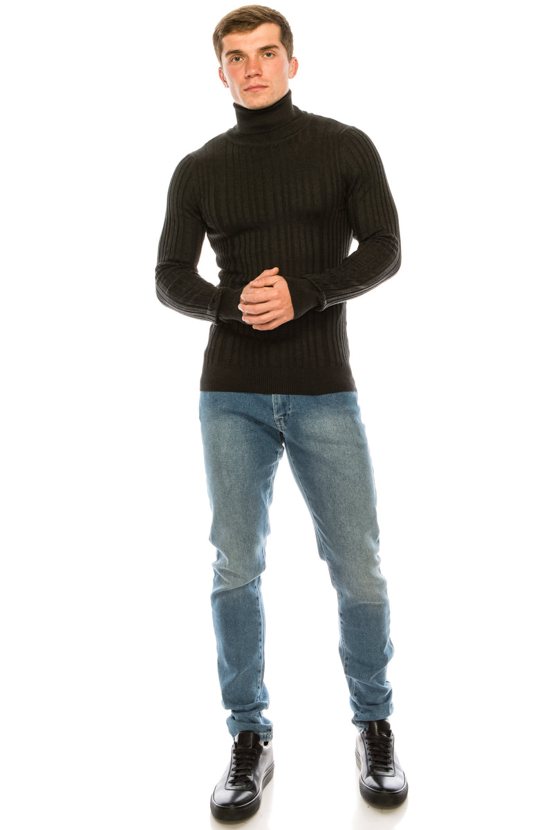 Roll Neck Ribbed Sweater - Anthracite - Ron Tomson