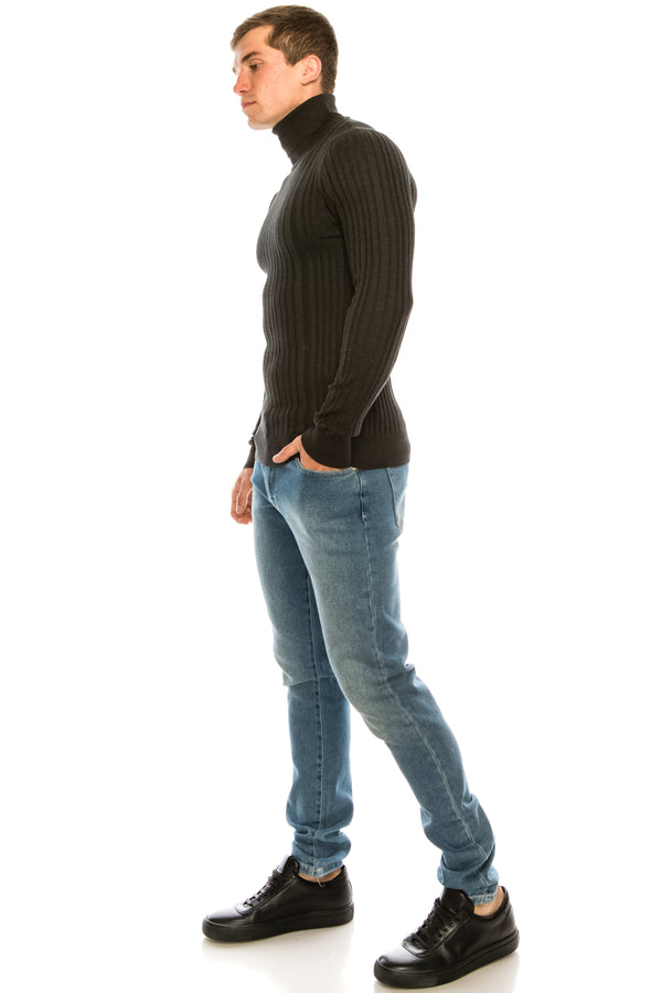 Roll Neck Ribbed Sweater - Anthracite - Ron Tomson ?id=15324805431381