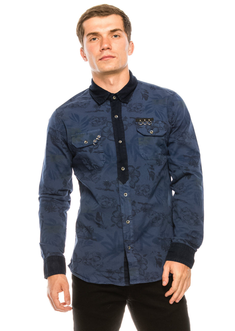 Pierced Fitted Button Down Shirt - NAVY - Ron Tomson ?id=15581657825365