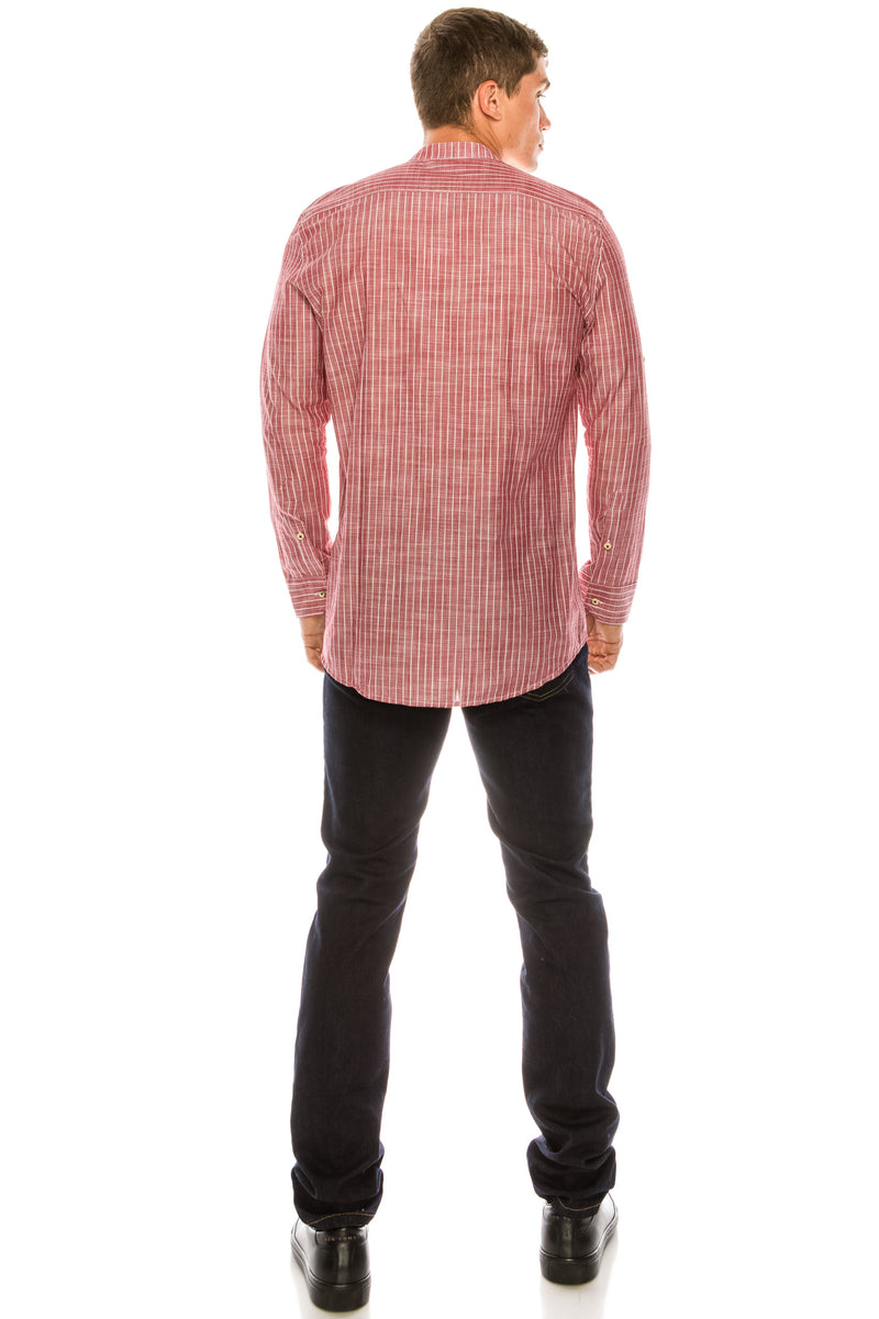 General Striped Cotton Shirt - RED - Ron Tomson