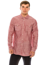 Western Striped Cotton Shirt - RED - Ron Tomson ?id=15324901834837