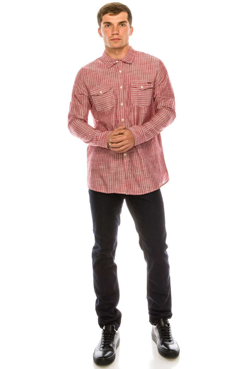 Western Striped Cotton Shirt - RED - Ron Tomson ?id=15324901736533