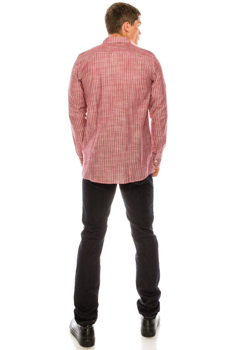 Western Striped Cotton Shirt - RED - Ron Tomson ?id=15324901769301