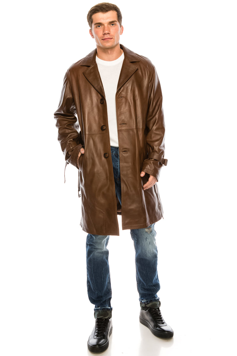 Jopling Belted Leather Trench - Cognac Leather - Ron Tomson