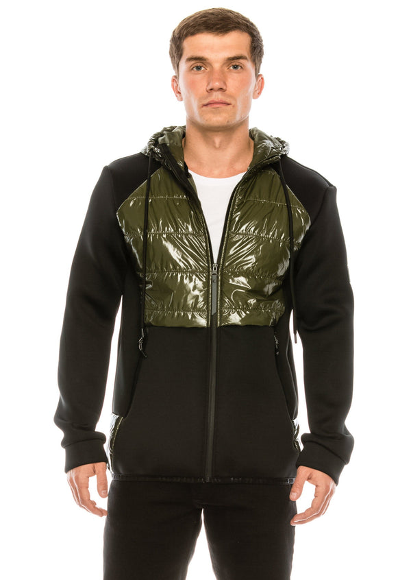 Mix Media Neoprene Quilted Jacket - KHAKI
