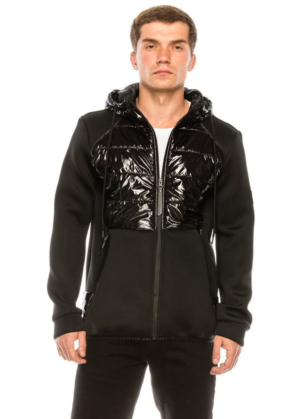 Mix Media Neoprene Quilted Jacket - BLACK