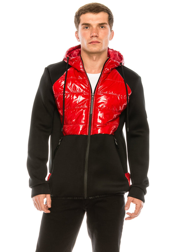 Mix Media Neoprene Quilted Jacket - RED