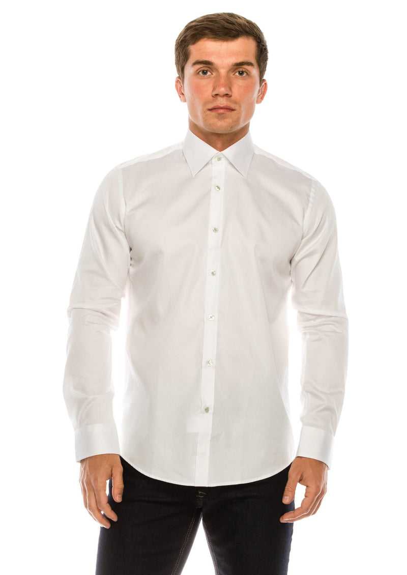 Pure Cotton Contrast button dress shirt - White Green - Ron Tomson