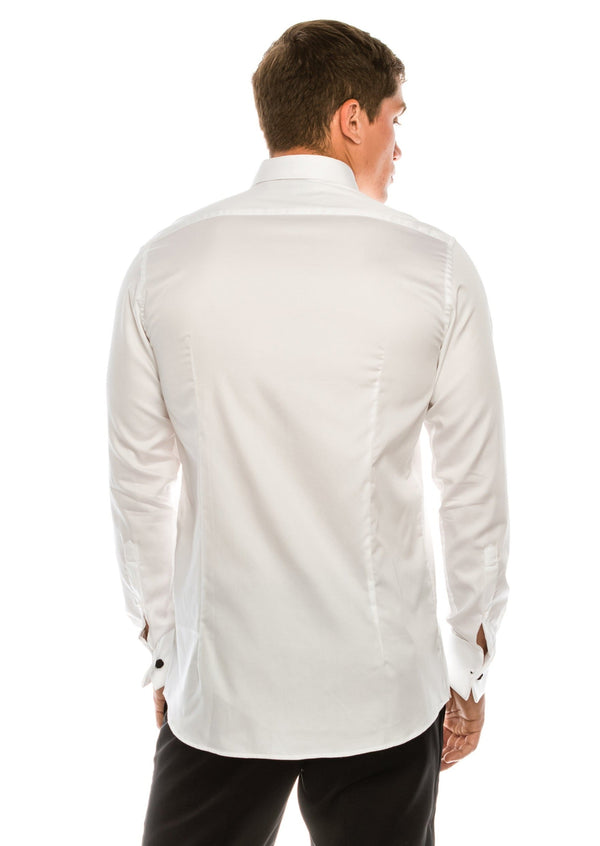 Pure Cotton Pleated Wing Tip Collar Shirt - White White - Ron Tomson