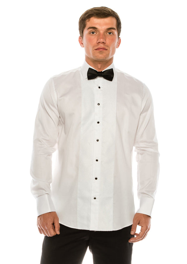 Lurex Paneled Spread Collar Shirt - White White - Ron Tomson