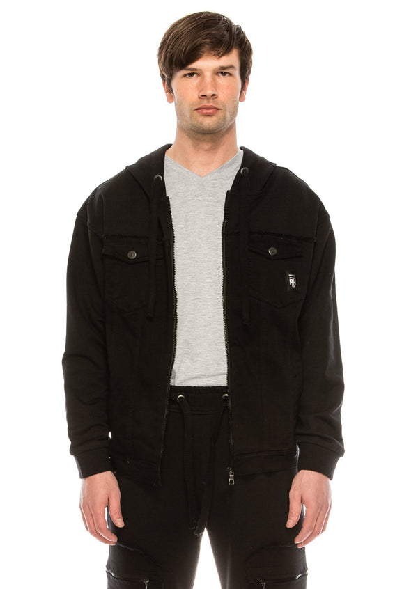 Mixed-Media Denim  Track Suit Jacket - BLACK - Ron Tomson ?id=15917641039957