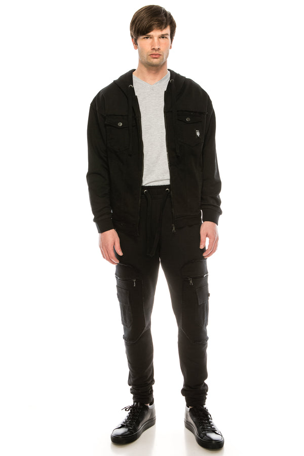Mixed-Media Denim  Track Suit Jacket - BLACK - Ron Tomson ?id=15917641007189