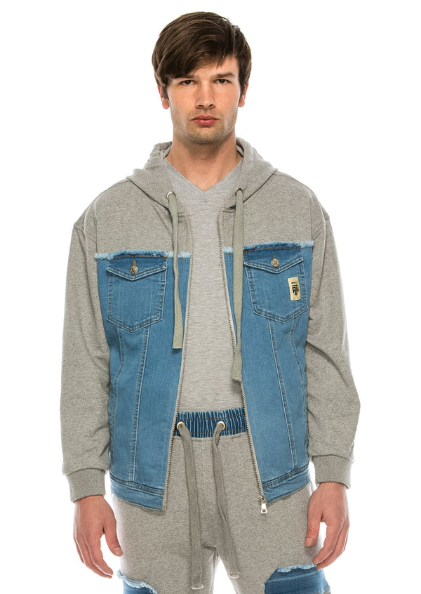 Mixed-Media Denim Track Suit Jacket - GREY - Ron Tomson ?id=15917641728085