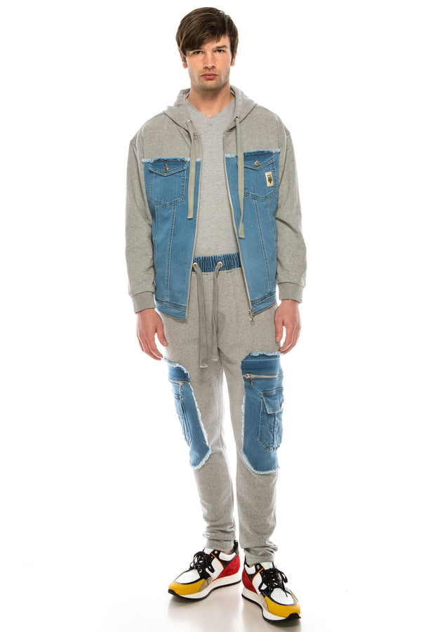 Mixed-Media Denim Track Suit Jacket - GREY - Ron Tomson ?id=15917641662549