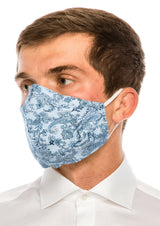 Face masks reusable and washable - Light Blue Paisley - Ron Tomson