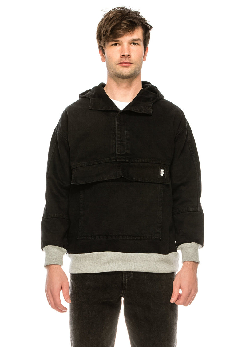 80's Denim Pullover Hoodie - Black Contrast - Ron Tomson
