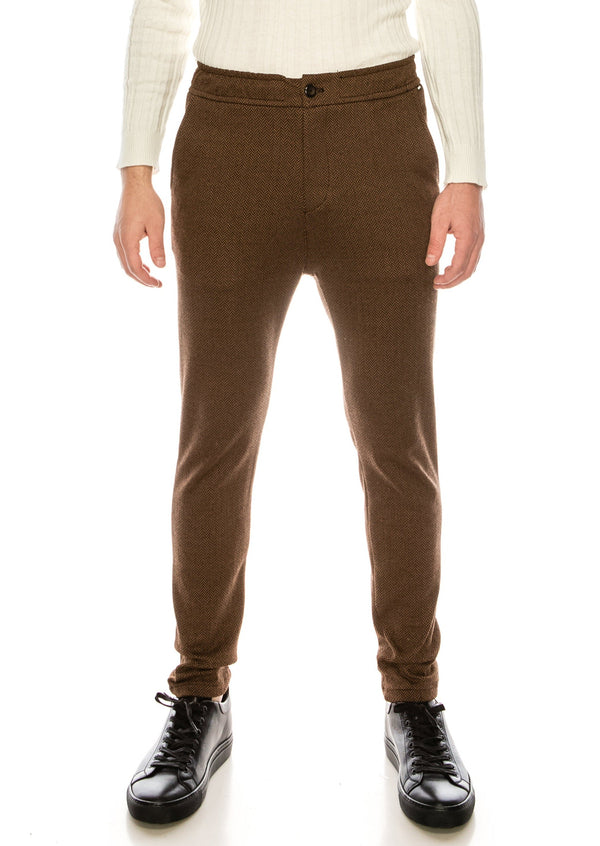 COTTON BLEND HOUNDSTOOTH KNIT SWEATPANTS - CAMEL - Ron Tomson ?id=15891527270485