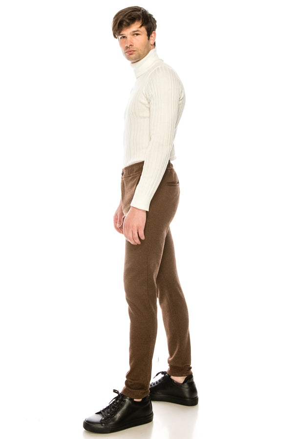 COTTON BLEND HOUNDSTOOTH KNIT SWEATPANTS - CAMEL - Ron Tomson ?id=15891527303253