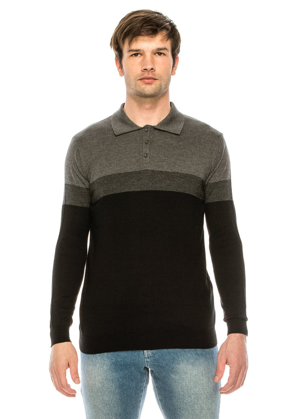 The Geometrical Knit Polo LS - BLACK ANTHRACITE - Ron Tomson