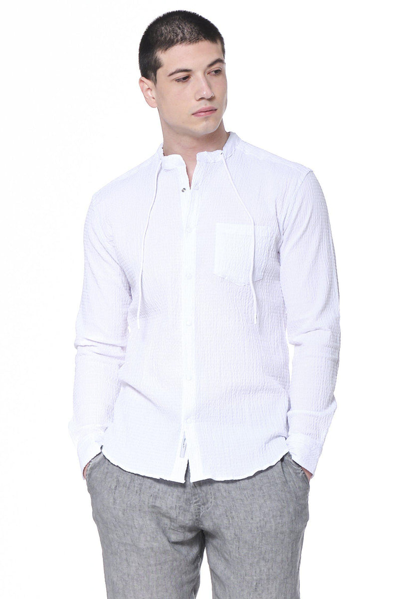 Drawstring Lightweight Popover Shirt - White - Ron Tomson