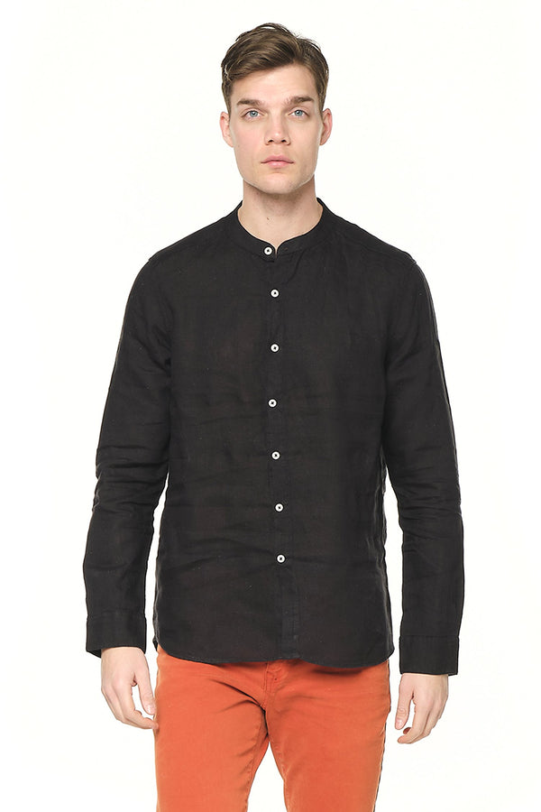 The Linen Grandad Shirt - BLACK