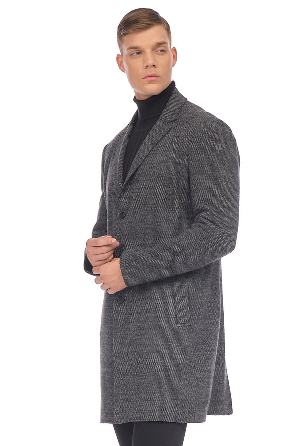 Longline Raw Edge Chesterfield Coat - BLACK GREY - Ron Tomson