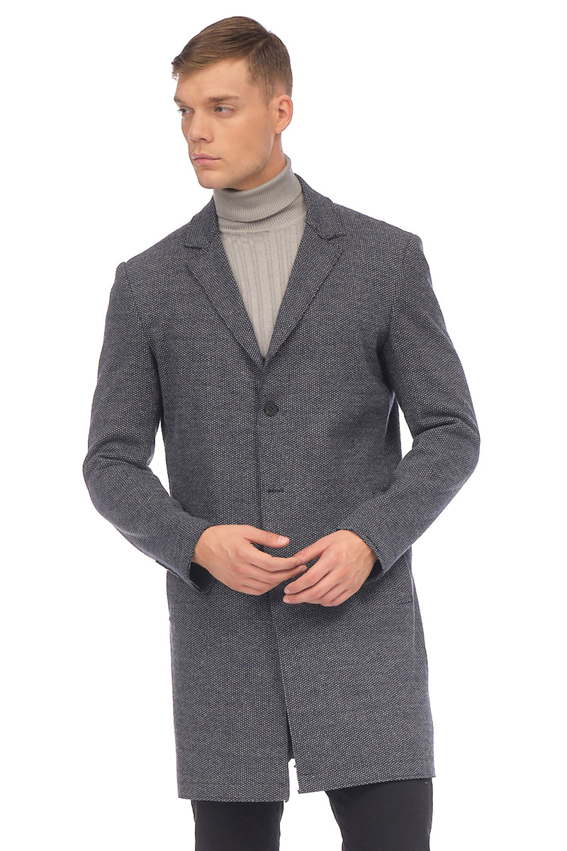 Longline Raw Edge Chesterfield Coat - NAVY GREY - Ron Tomson