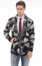 Cowl Neck Asymmetric Closure Camouflage Cardigan