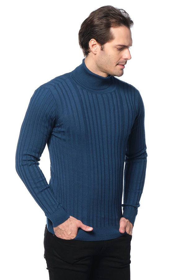 Roll Neck Ribbed Sweater - PETRO GREEN - Ron Tomson ?id=27945637150805