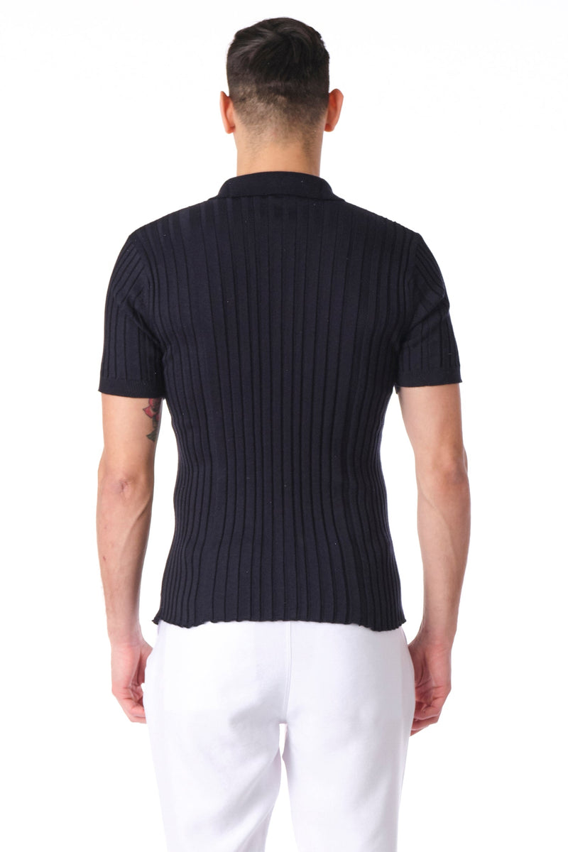 Ribbed S/S Polo - Navy - Ron Tomson ?id=15772364963925