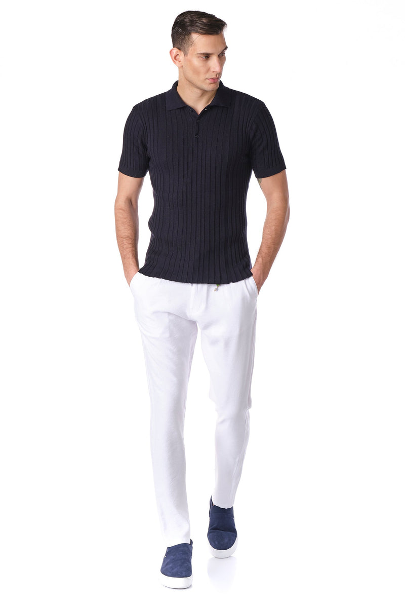 Ribbed S/S Polo - Navy - Ron Tomson ?id=15772364865621