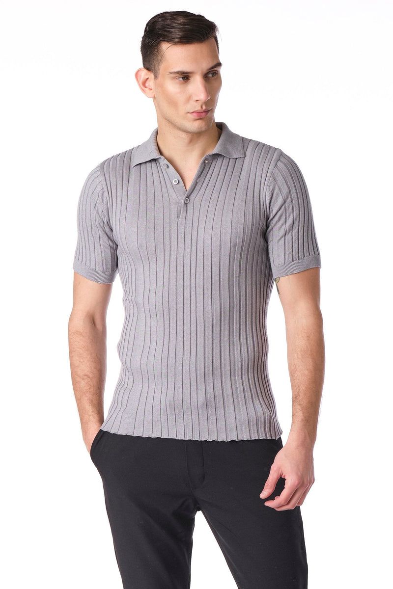 Ribbed S/S Polo - Grey - Ron Tomson