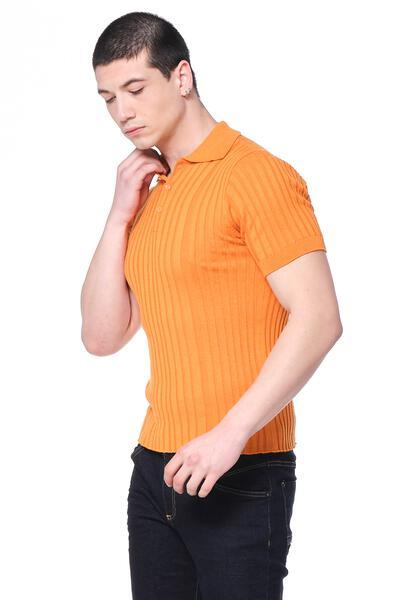 Ribbed S/S Polo - Orange - Ron Tomson