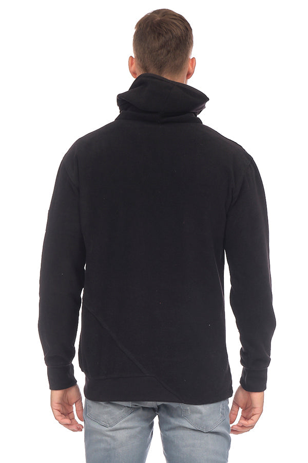 Face Covering Pocket Front Polar Hoodie - BLACK - Ron Tomson