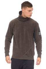 Face Covering Pocket Front Polar Hoodie - KHAKI - Ron Tomson