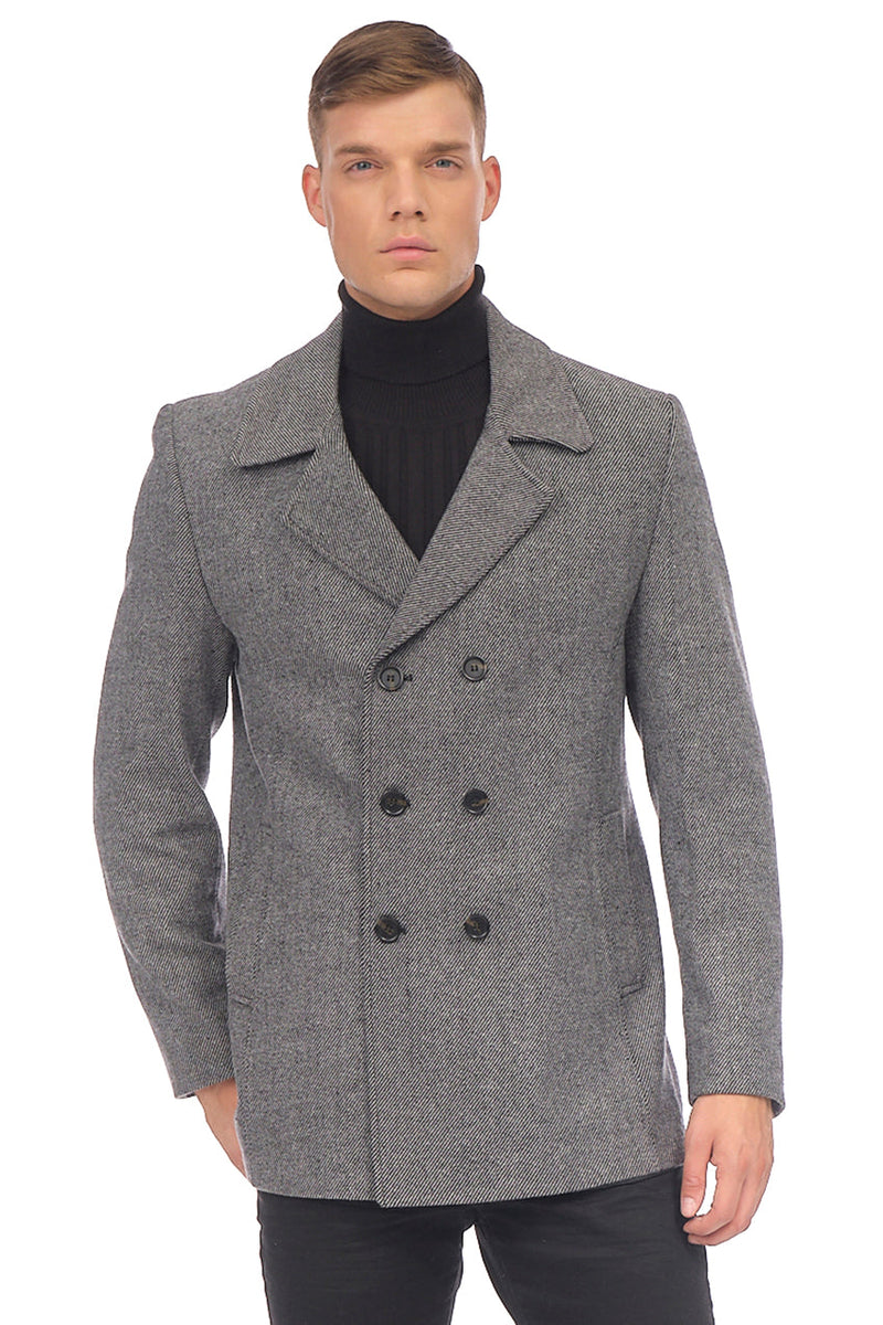 Double Breasted Peacoat - Gray - Ron Tomson
