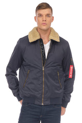 TEDDY COLLAR AVIATOR JACKET - NAVY - Ron Tomson