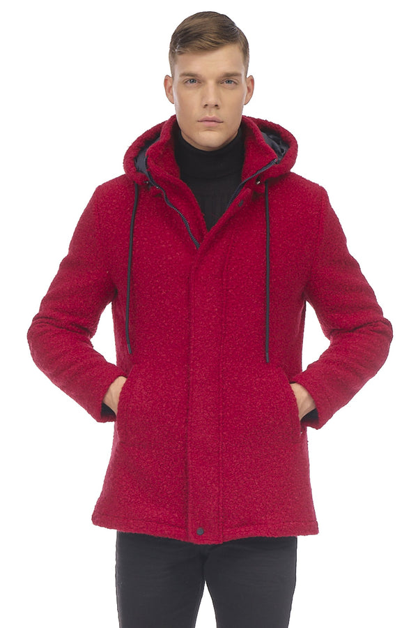 Grunge Hood Boucle Coat Quilted - RED - Ron Tomson