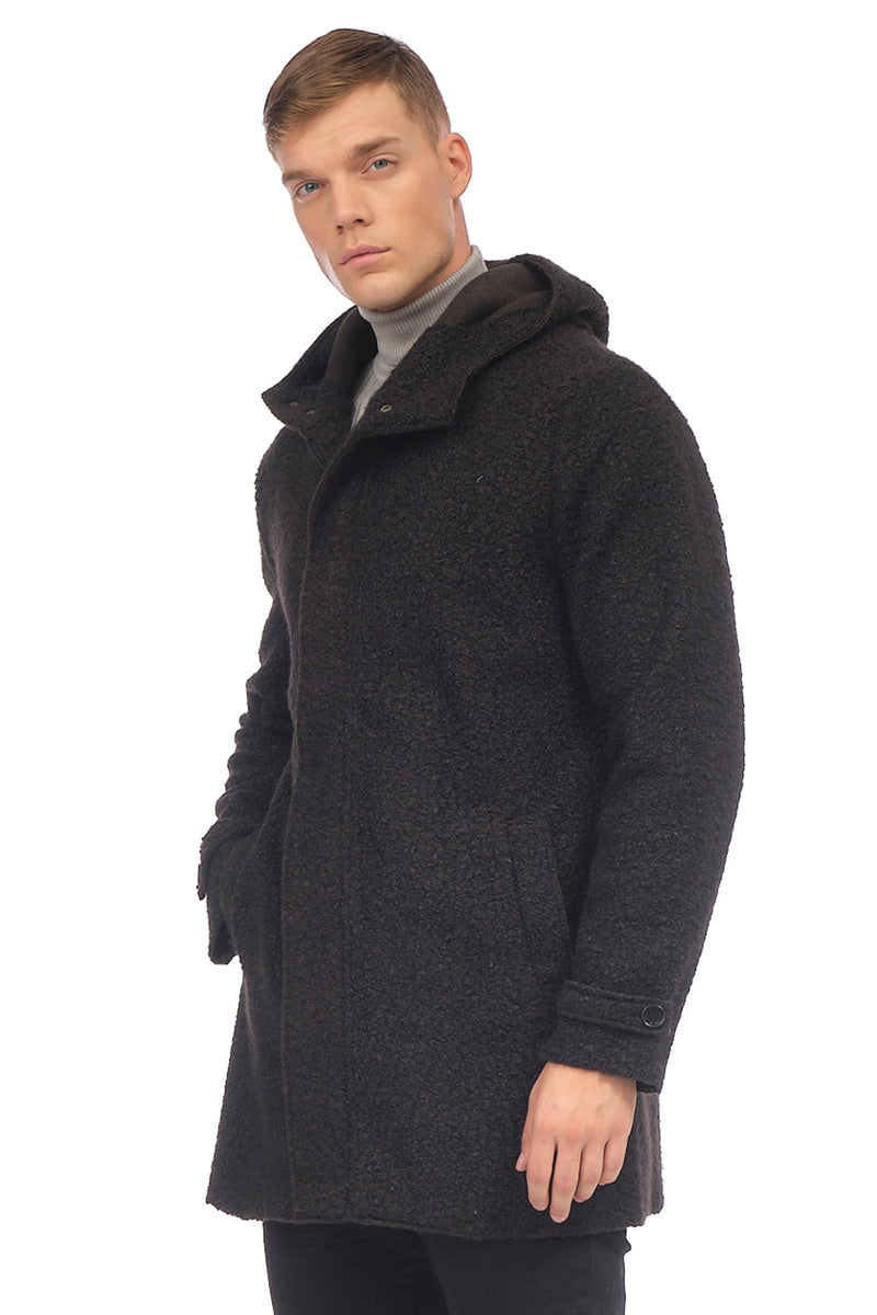 Grunge Hood Boucle Coat Unquilted - BLACK - Ron Tomson