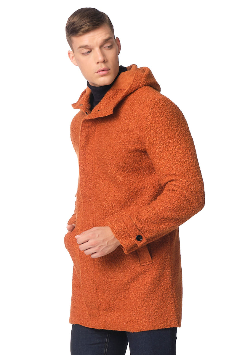 Grunge Hood Boucle Coat Unquilted - TILE - Ron Tomson