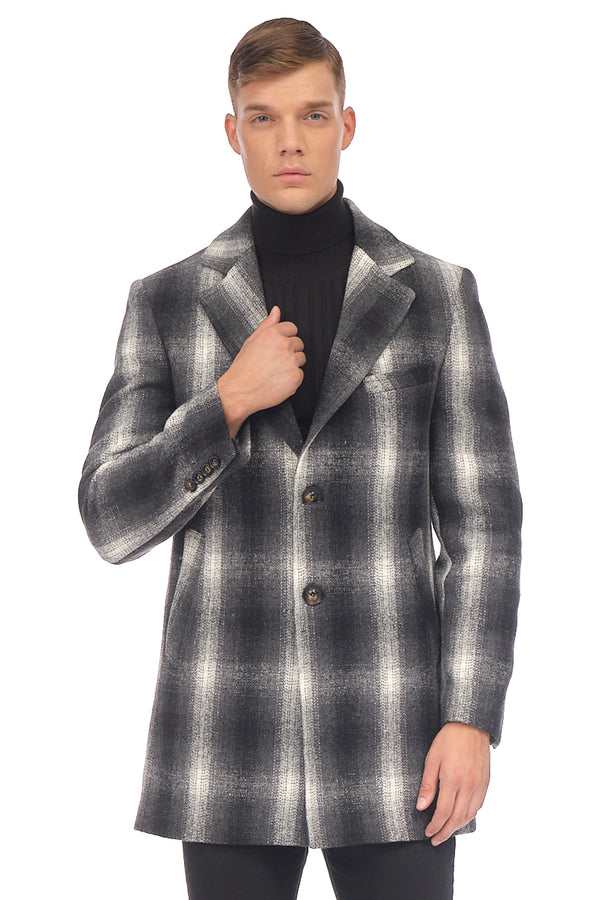 Chesterfield Plaided Coat - GREY - Ron Tomson