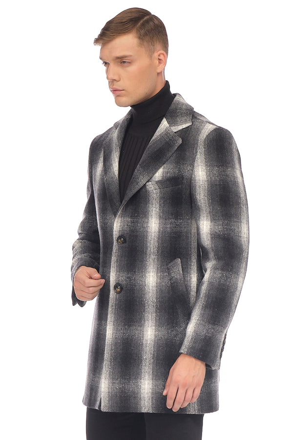 Chesterfield Plaided Coat - GREY - Ron Tomson ?id=15330852274261