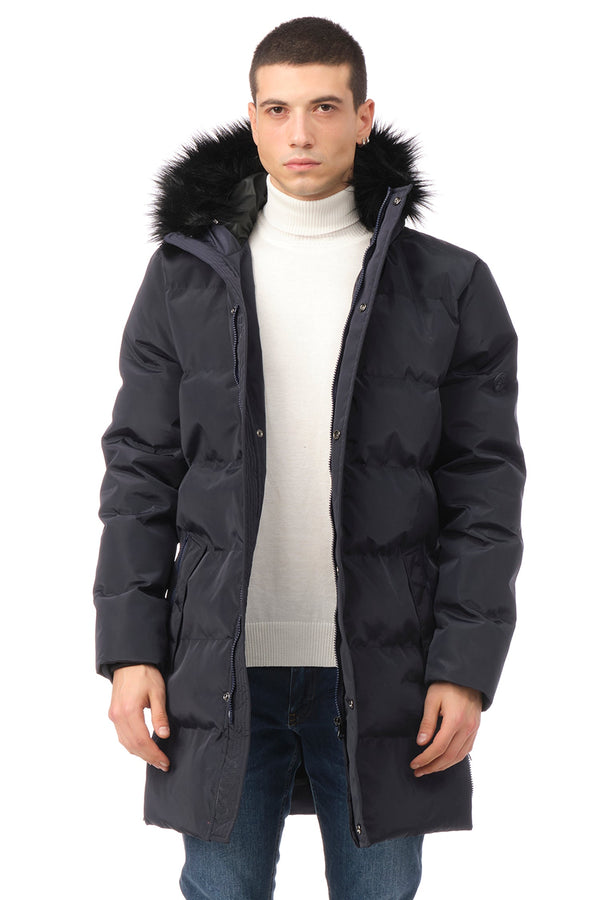Faux Fur Padded Parka - NAVY - Ron Tomson