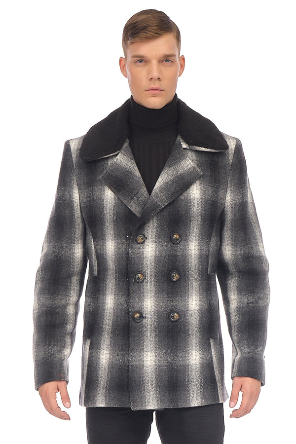 Faux Shearling-Trim Plaid Peacoat - GREY - Ron Tomson