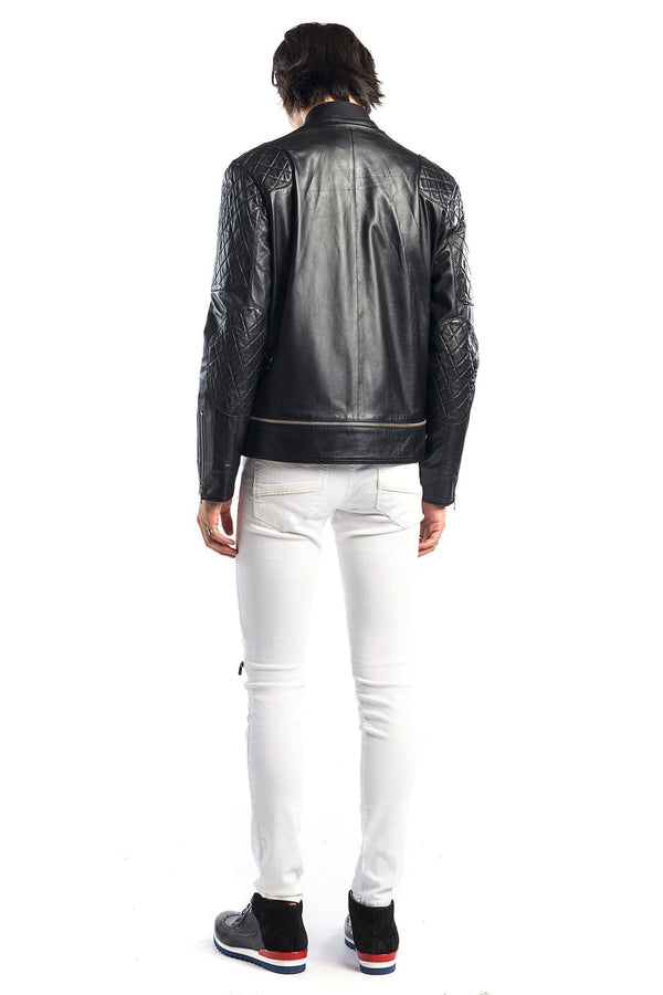 7802-Quilted Zip Leather Jacket - More Colors - Ron Tomson