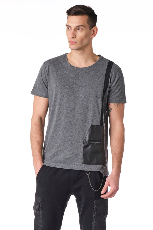 Geometrical leather patch Tee - Anthracite - Ron Tomson